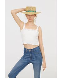 H&M - Smocked Cotton Top - Lyst