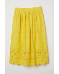 H&M - Skirt With Eyelet Embroidery - Lyst