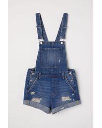 H&M - Denim Bib Overall Shorts - Lyst