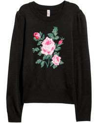 H&M - Fine-knit Jumper With A Motif - Lyst
