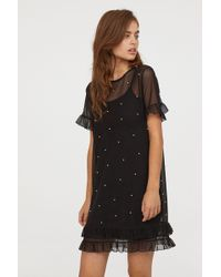 H&M - Mesh Dress With Beads - Lyst