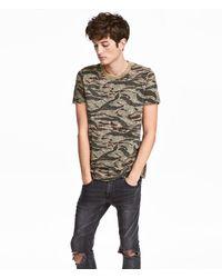 H&M - Patterned T-shirt - Lyst