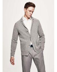 Hackett - Tweed Knit Cotton And Linen Cardigan - Lyst