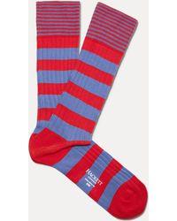 Hackett - Fine Striped Cuff Cotton-blend Socks - Lyst