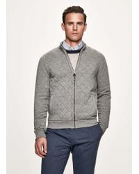 Hackett - Quilted Garment-dyed Jersey Full Zip Jumper - Lyst