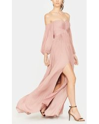 Halston - Off Shoulder Pleated Gown - Lyst