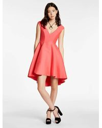 Halston - Silk Falle Structured Dress - Lyst