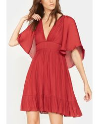 Halston - Cape Sleeve Pleated Dress - Lyst