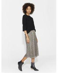 Halston Heritage | Metallic Jersey Midi Skirt | Lyst