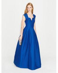 Halston - Geo Neck Silk Faille Gown - Lyst
