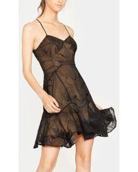 Halston - Embroidered Soutache Flounce Dress - Lyst