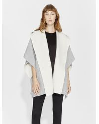 Halston - Double Faced Poncho - Lyst