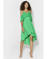 Halston - Pleated Flounce Dress - Lyst