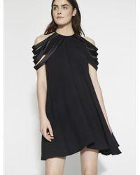 Halston - Drapey Crepe Dress With Multi Strips - Lyst