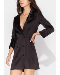 Halston - Double Breasted Satin Tuxedo Dress - Lyst