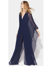 811f6282756a Halston - Dramatic Flounce Sleeve Tie Back Jumpsuit - Lyst