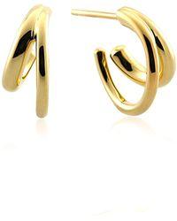 cc4a7d9cc Swarovski Rose Gold Plated Duo Moon Hoop Earrings in Metallic - Lyst