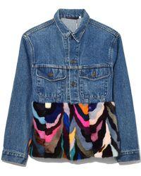 Harvey Faircloth - Vintage Denim Jacket With Mink Fur In Multicolour - Lyst