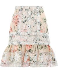Zimmermann - Prima Hydrangea Skirt In Peach Floral - Lyst