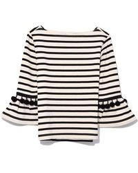 Jérôme Dreyfuss - Striped Top With Pom Poms In Ecru/black - Lyst