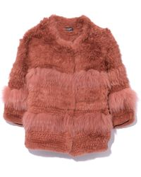 Yves Salomon - Knitted Long Hair Jacket In Nude - Lyst