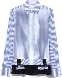 Sacai - Shirting Pleated Button Shirt In Blue Stripe - Lyst