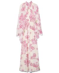 Giambattista Valli - Cape Back Gown In Ivory/peony Rose - Lyst