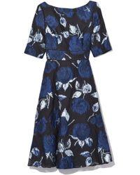 Lela Rose - Elbow Sleeve Full Skirt Dress In Navy/black - Lyst