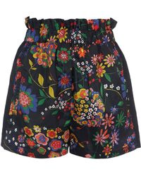 Tibi - Floral Patterned Tech Easy Pull On Shorts - Lyst