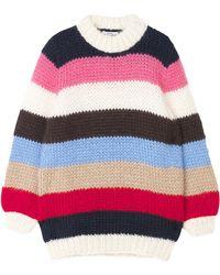 Ganni - Julliard Striped Mohair And Wool-blend Jumper - Lyst