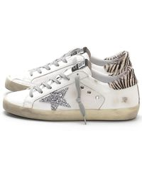 e9524b86fae Golden Goose Deluxe Brand - Superstar Sneakers In White Canvas silver  Glitter - Lyst