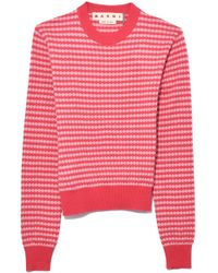 Marni - Long Sleeve Crew Neck Sweater In Rouge Red - Lyst