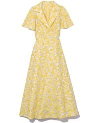 Lela Rose - Flutter Sleeve Shirt Dress In Yellow - Lyst