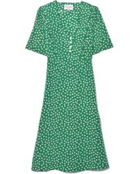 HVN - Lola Button Dress In Green Dot Floral - Lyst