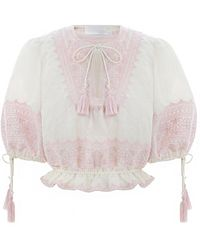 Zimmermann - Laelia Embroidered Mini Blouse In Ivory/dusty Pink - Lyst