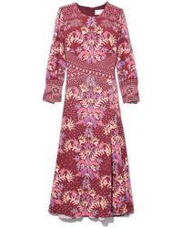 Peter Pilotto - Printed Waffle Midi Dress In Bordeaux - Lyst