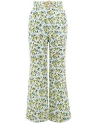 Zimmermann - Golden Crop Flare Pant In Lemonade Acid Floral - Lyst