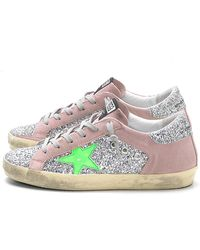 753b292fdfa1 Golden Goose Deluxe Brand - Superstar Sneakers In Silver Glitter pink Suede  - Lyst