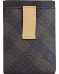 Burberry - Smoke Check Leather Card Holder - Lyst
