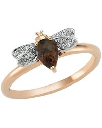 Bee Goddess - Rose Gold Diamond And Smoky Topaz Queen Bee Ring - Lyst
