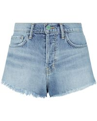 Sandrine Rose - Side Stripe Frayed Denim Shorts - Lyst