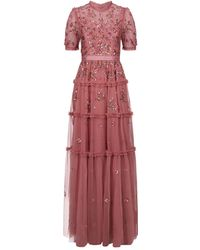 Needle & Thread - Carnation Tiered Sequin Gown - Lyst