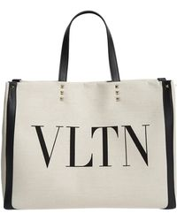 Valentino - Vltn Leather-trimmed Tote - Lyst