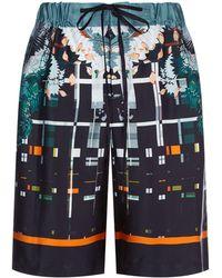 Meng - Silk Geometric Floral Print Pyjama Shorts - Lyst