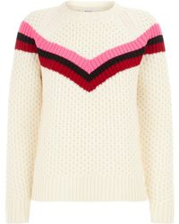 MILLY - Chevron Stripe Knitted Sweater - Lyst
