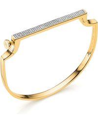 Monica Vinader | Signature Thin Diamond Bangle, Gold | Lyst