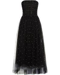 Monique Lhuillier - Pearl Embellished Strapless Gown - Lyst