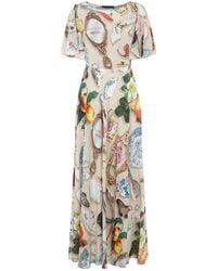 Boutique Moschino - Patterned Midi Dress - Lyst