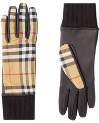 Burberry - Cashmere-lined Vintage Check And Lambskin Gloves - Lyst