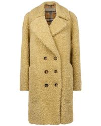 Burberry - Double-breasted Teddy Coat - Lyst